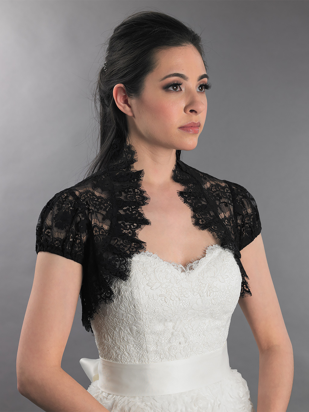 ... Lace Bolero Jacket > Black short sleeve corded lace wedding bolero
