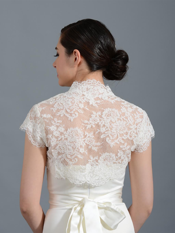Mandarin Collar Ivory Alencon Lace Bolero Lace 109