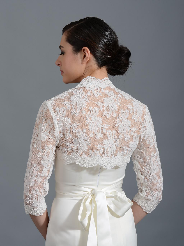 White Fur Stole >> Tulip Bridal lace bolero 042