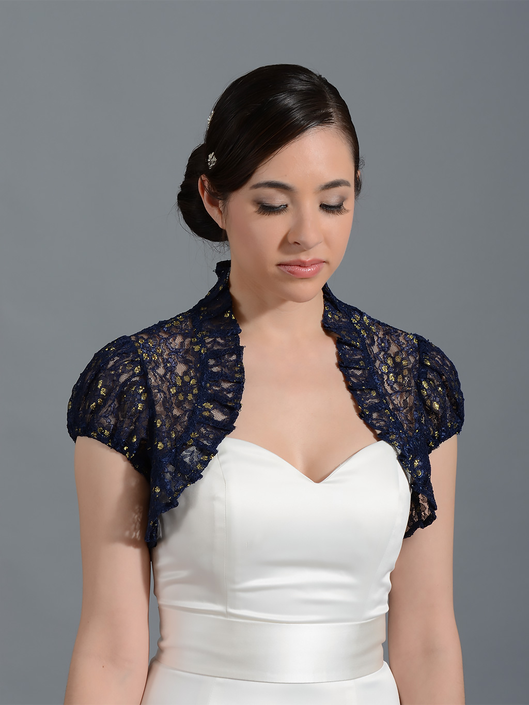 navy blue short sleeve corded lace wedding bolero jacket lace 043. Black Bedroom Furniture Sets. Home Design Ideas