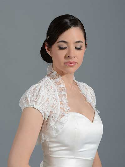 Short sleeve corded lace wedding bolero Lace_043