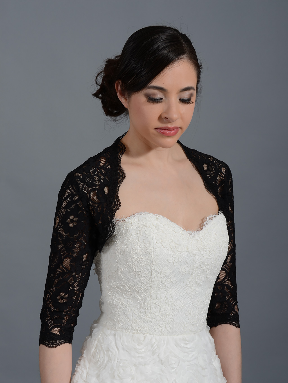 black 3 4 sleeve bridal corded lace wedding bolero jacket. Black Bedroom Furniture Sets. Home Design Ideas