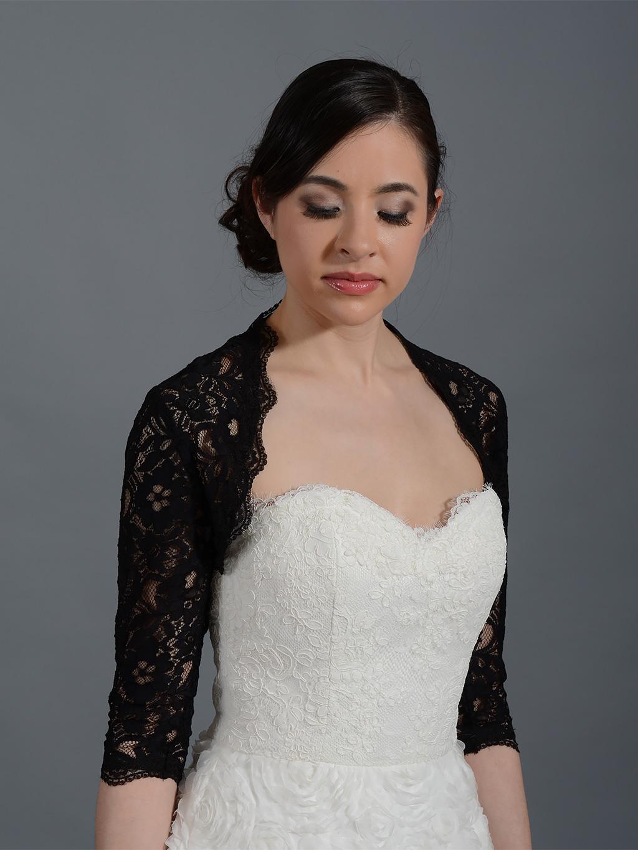 Black 3/4 sleeve bridal corded lace wedding bolero jacket
