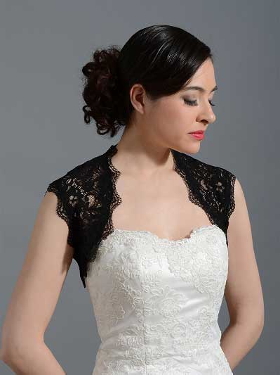 Black sleeveless bridal corded lace bolero jacket Lace_060