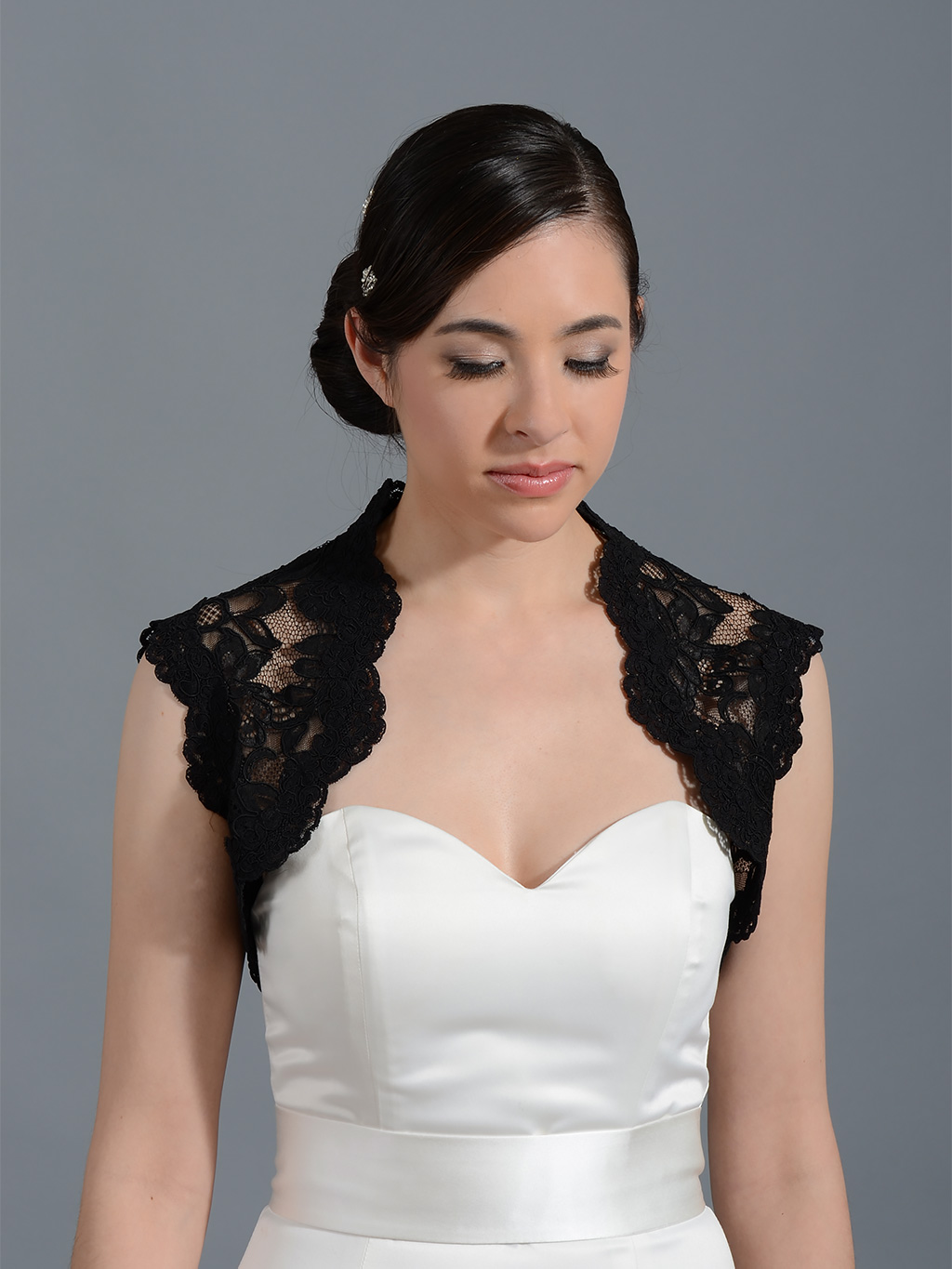 ... Lace Bolero Jacket > Black sleeveless bridal alencon lace bolero