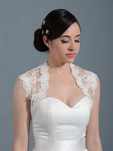 Ivory sleeveless bridal alencon lace bolero jacket -- Lace_073