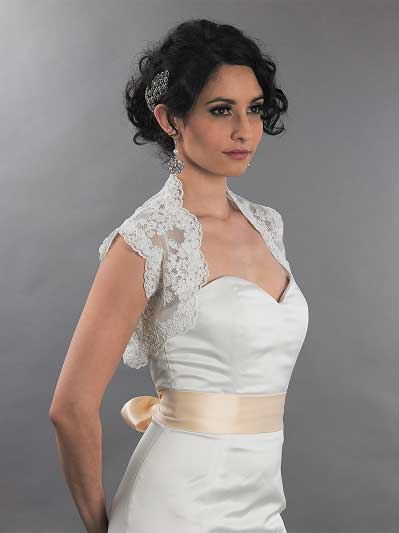 Sleeveless bridal alencon lace bolero jacket - Lace_079