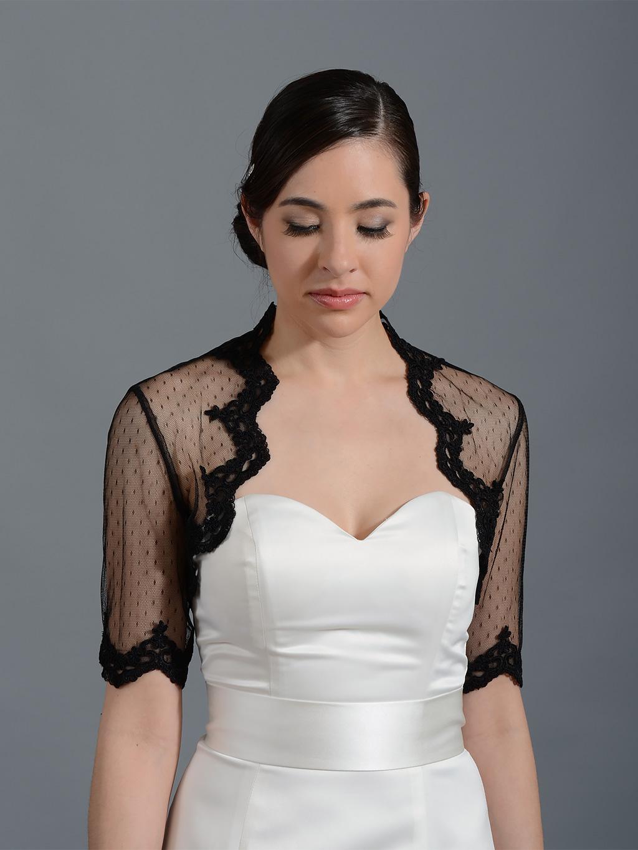 black elbow length bridal dot lace wedding bolero jacket lace 081. Black Bedroom Furniture Sets. Home Design Ideas