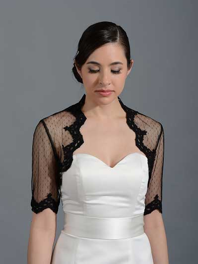 Black elbow length bridal dot lace wedding bolero jacket Lace_081