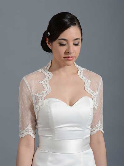 Ivory elbow length bridal dot lace wedding bolero Lace_081