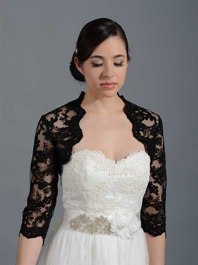 Black 3/4 sleeve re-embroidered lace wedding bolero