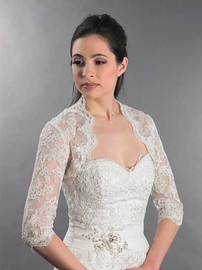 3/4 sleeve bridal lace wedding bolero jacket Lace_080