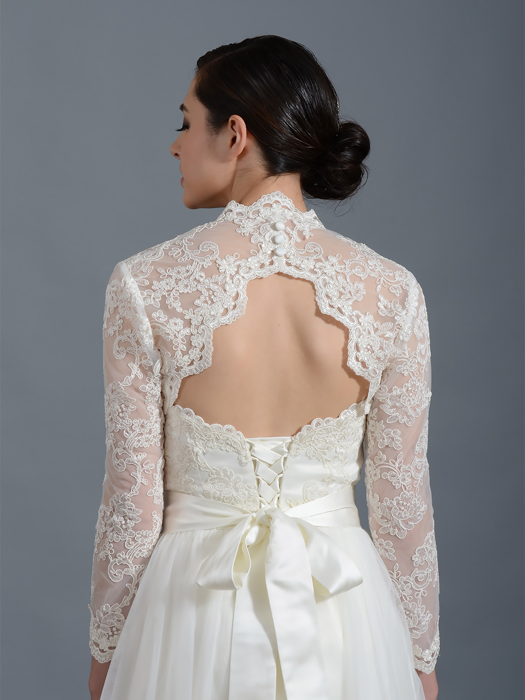 Long sleeve alencon lace bolero with keyhole back lace 100 for Dress jackets for wedding
