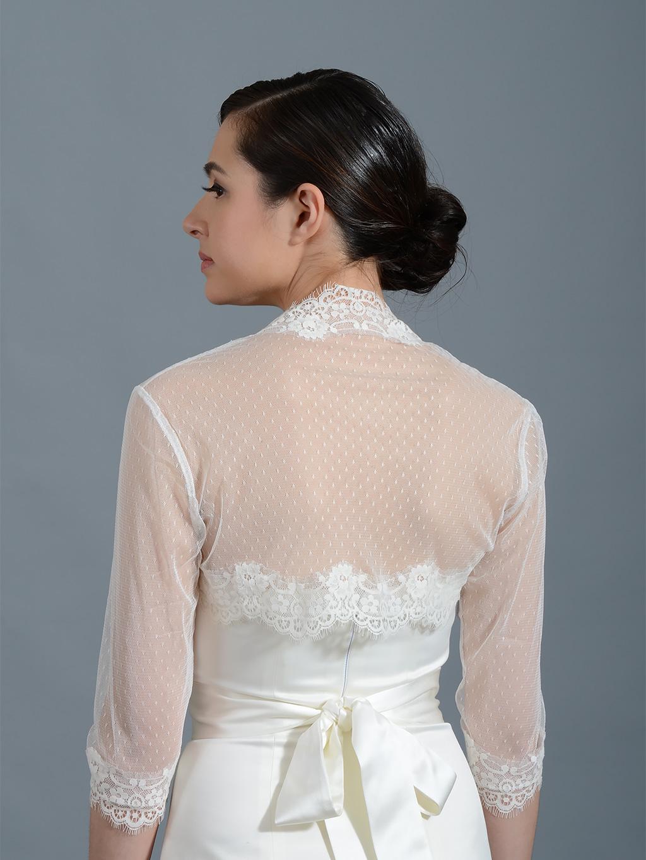 Ivory 3 4 Sleeve Bridal Dot Lace Wedding Bolero Jacket