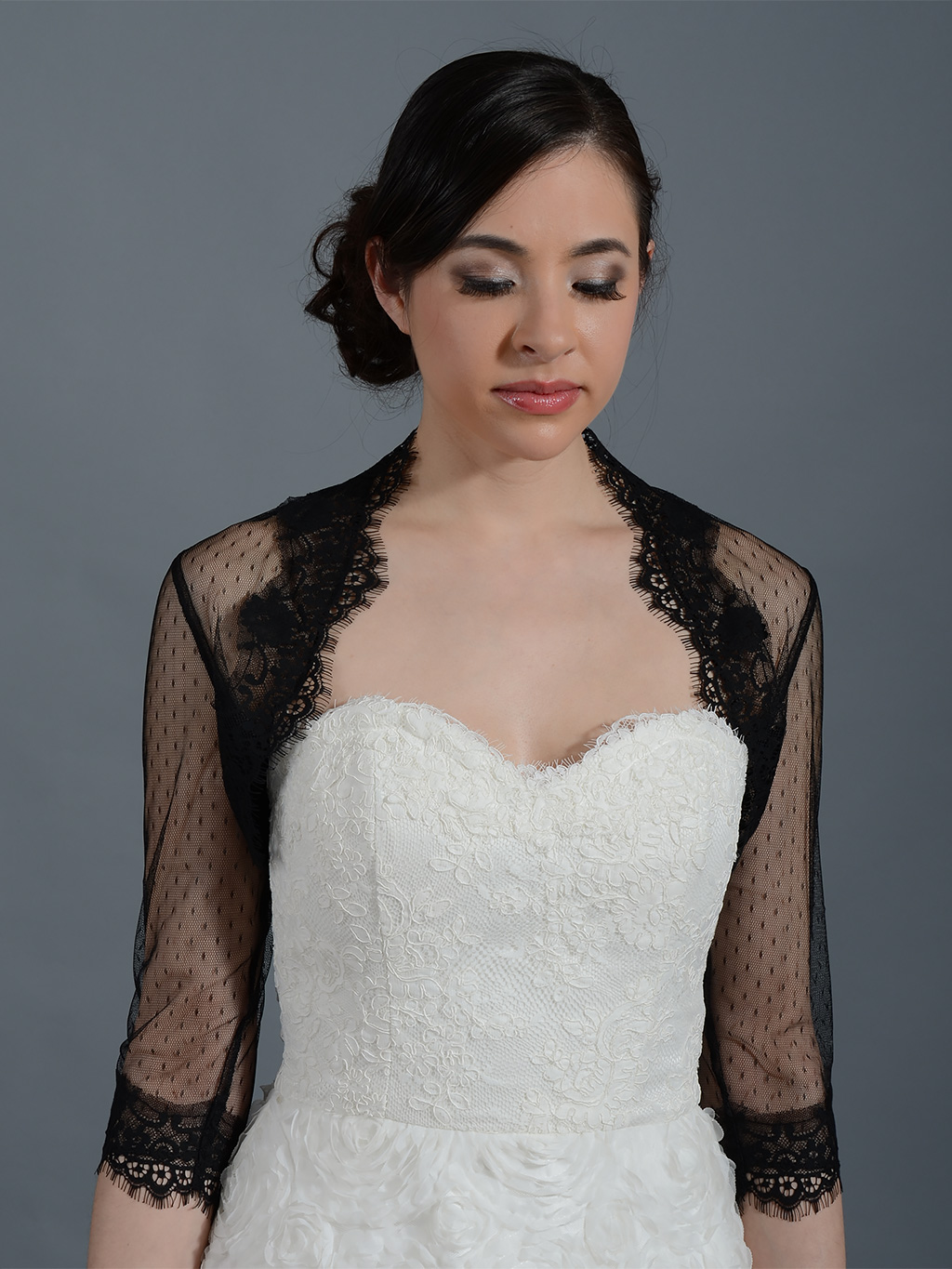 ... Lace Bolero Jacket > Black 3/4 sleeve bridal dot lace wedding bolero