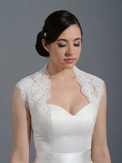 Ivory sleeveless alencon lace bolero wedding bolero jacket