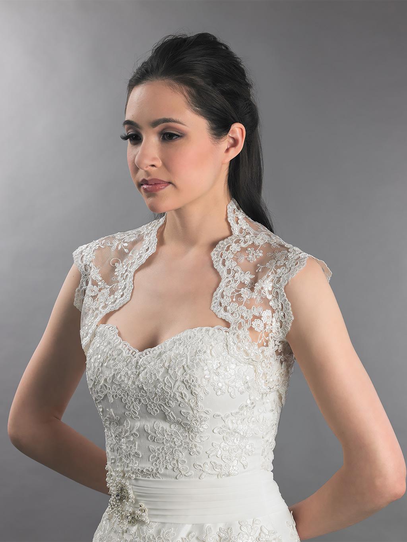 Ivory Sleeveless Lace Bolero Wedding Jacket