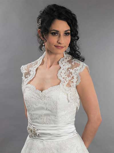 Ivory sleeveless bridal alencon lace bolero jacket -- Lace_111