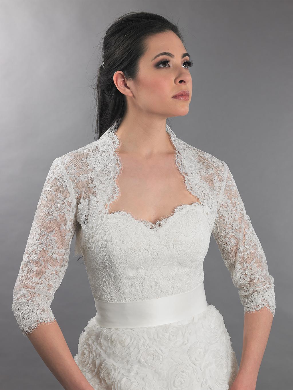 3 4 sleeve ivory bridal alencon lace bolero jacket lace 112. Black Bedroom Furniture Sets. Home Design Ideas