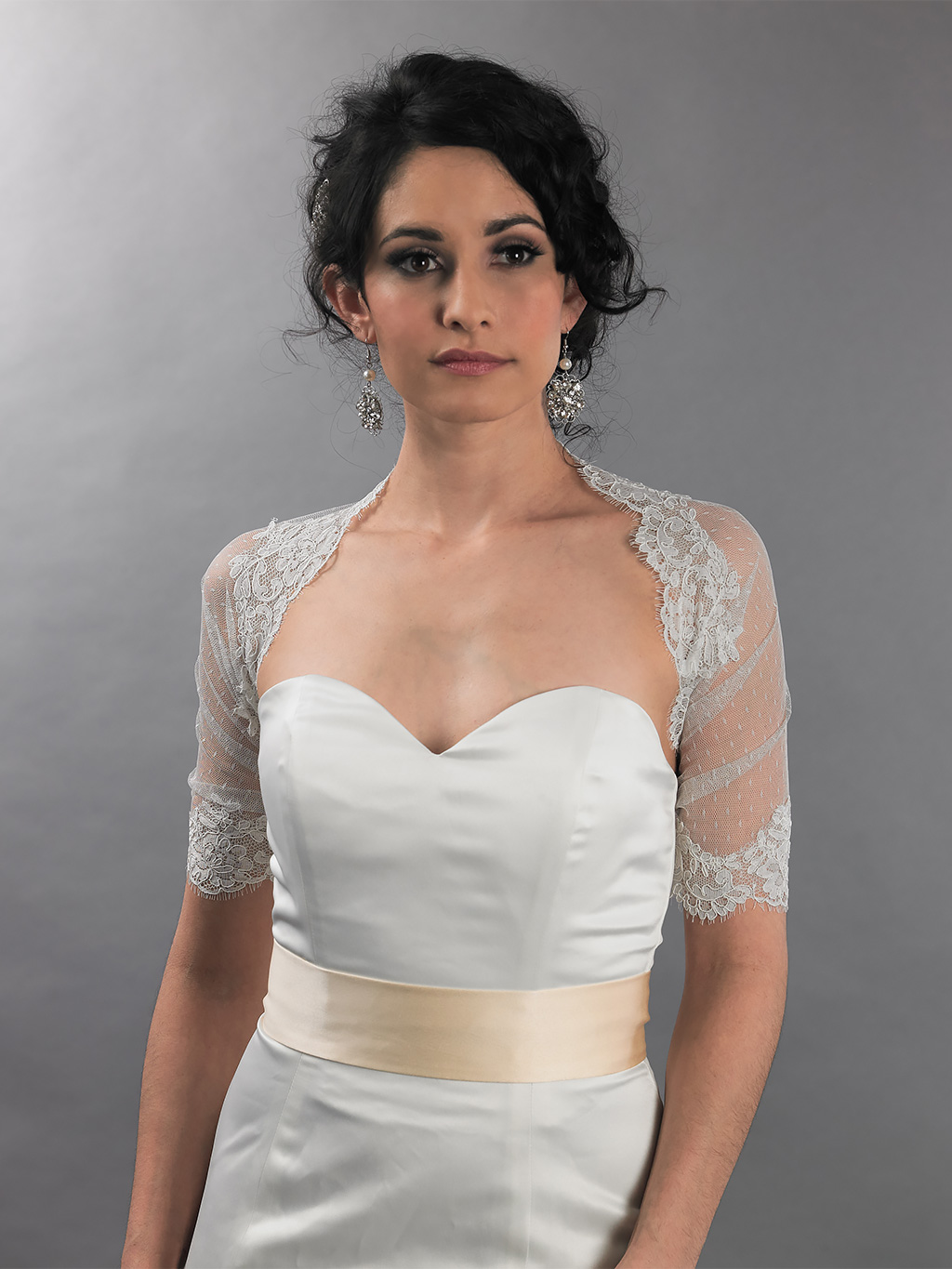 Ivory lace Wrap with alecon lace
