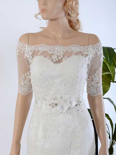 Off-Shoulder Bridal Bolero Wedding jacket dot lace WJ029