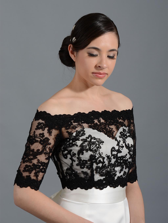 black off shoulder alencon lace bridal bolero wedding jacket