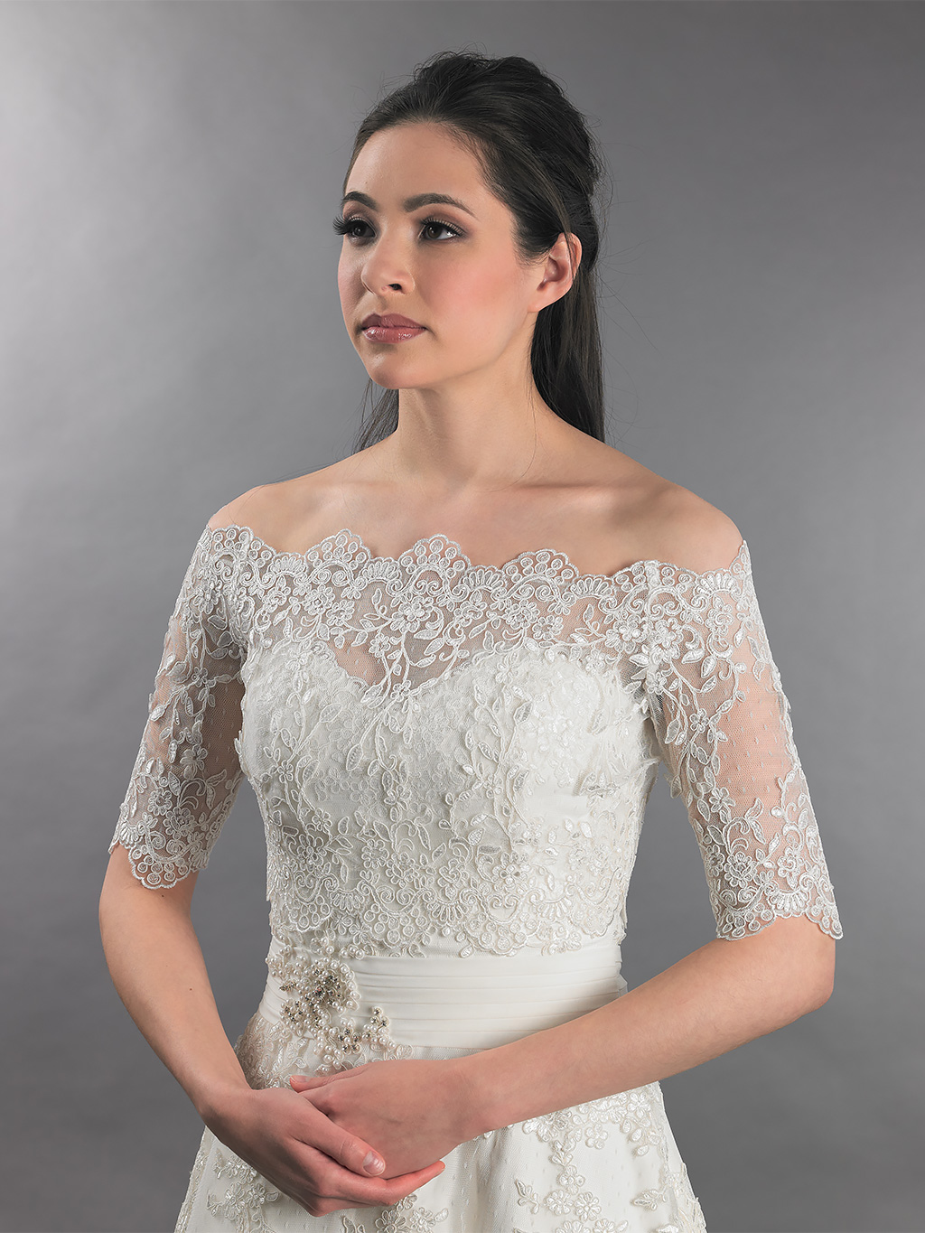 off shoulder wedding jacket lace bolero WJ010