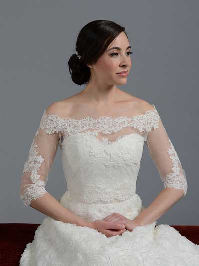 Off-Shoulder Alencon Lace Bridal Bolero Wedding jacket shrug WJ011