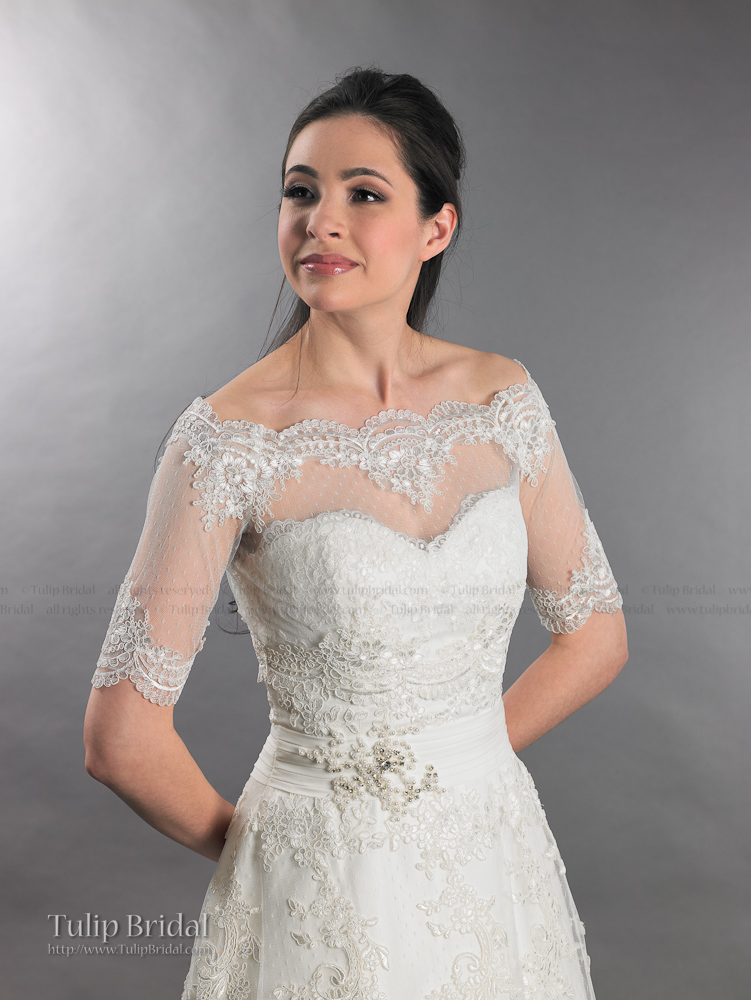 off shoulder dot lace bridal bolero wedding jacket shrug wj007. Black Bedroom Furniture Sets. Home Design Ideas
