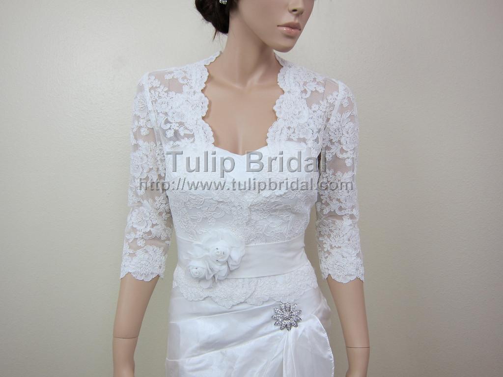 3 4 sleeve front open ivory alencon lace bolero jacket for Wedding dress lace jacket