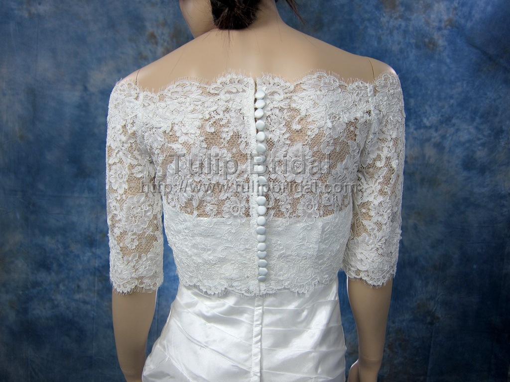 Off shoulder bridal bolero wedding jacket wj002 for Wedding dress lace jacket