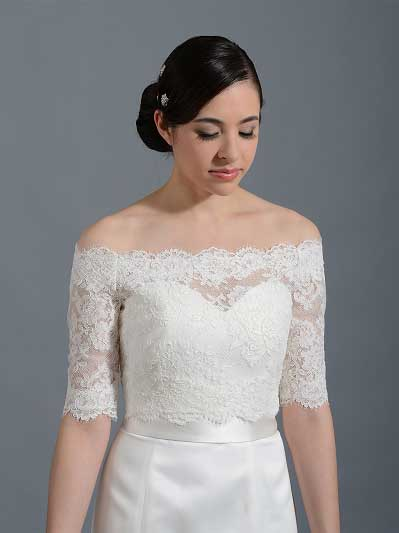 Off-Shoulder Bridal Bolero Wedding jacket WJ002
