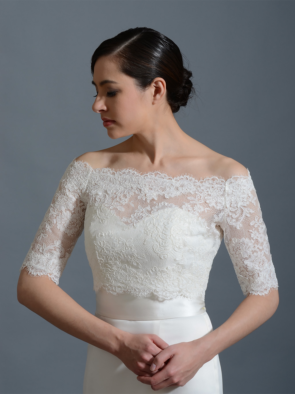 Off shoulder bridal bolero wedding jacket wj002 for Wedding dress with shrug