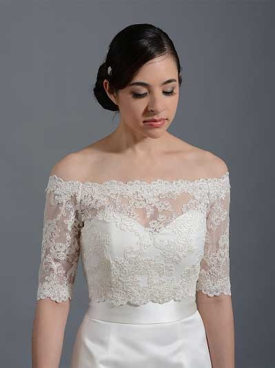Off-Shoulder Illusion Lace Bolero Wedding jacket WJ003