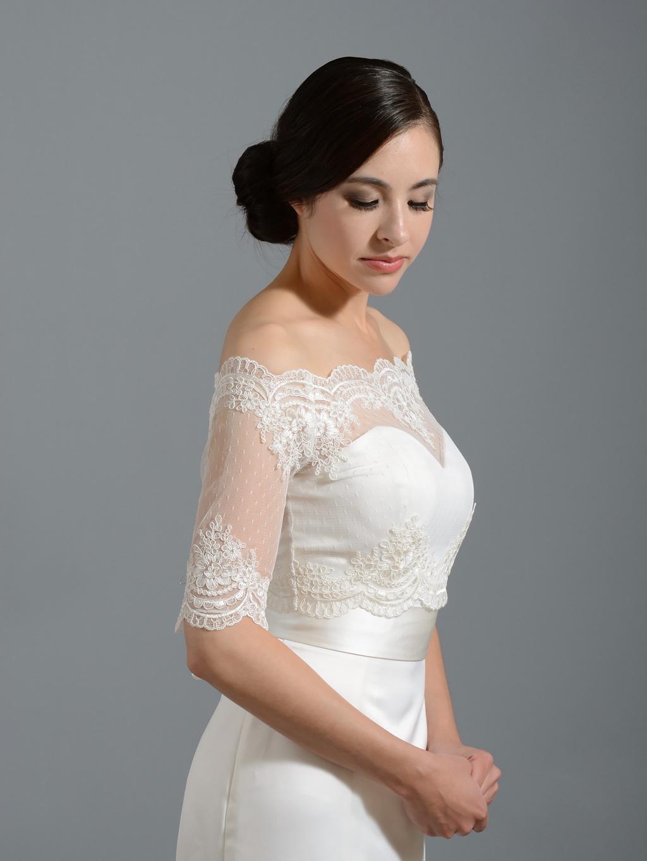 Off Shoulder Dot Lace Bolero Wedding Jacket