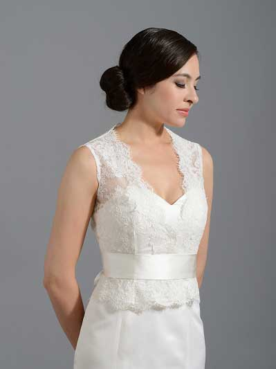 Front open Ivory Alencon Lace Wedding jacket Bridal Bolero shrug WJ016