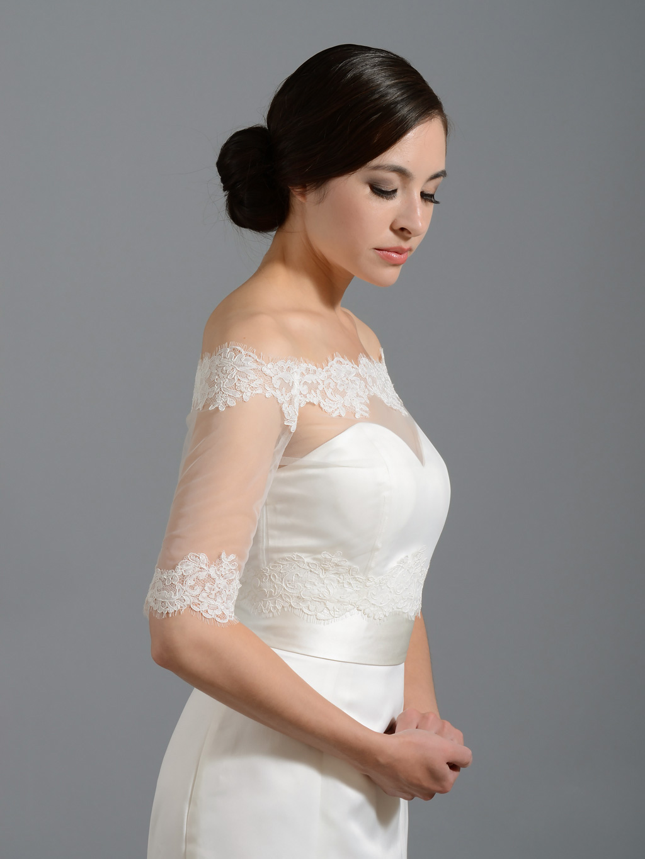 off shoulder alencon lace bolero wedding jacket