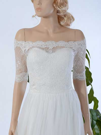 Off-Shoulder Alencon Lace Bolero Wedding jacket WJ027