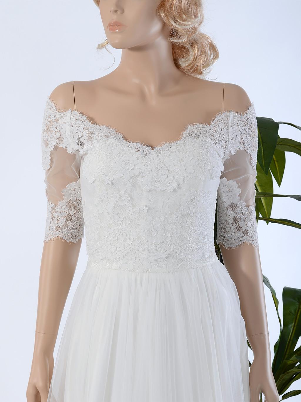 Off shoulder wedding jacket lace bolero wj031 for Lace jackets for wedding dresses