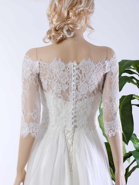 Off Shoulder Wedding Jacket Lace Bolero Wj035