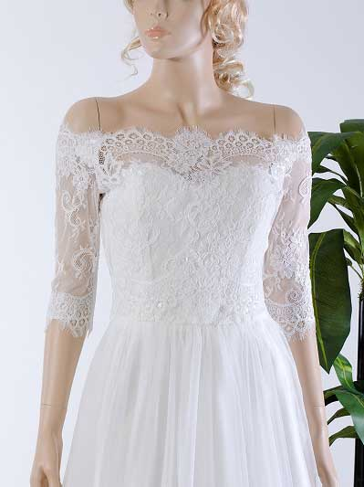 Off-Shoulder Alencon Lace Bolero Wedding jacket WJ035