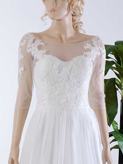 Illusion Tulle Alencon Lace Wedding jacket WJ036