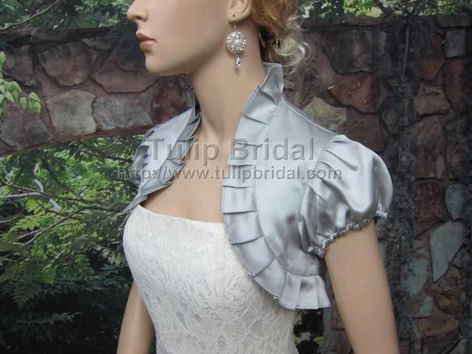 Silver short sleeve wedding satin bolero jacket