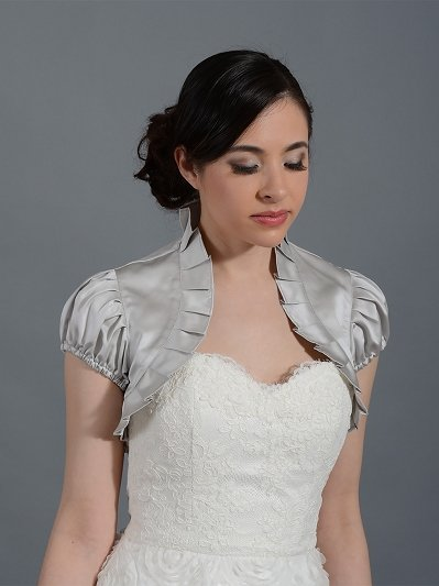 Silver short sleeve wedding satin bolero jacket