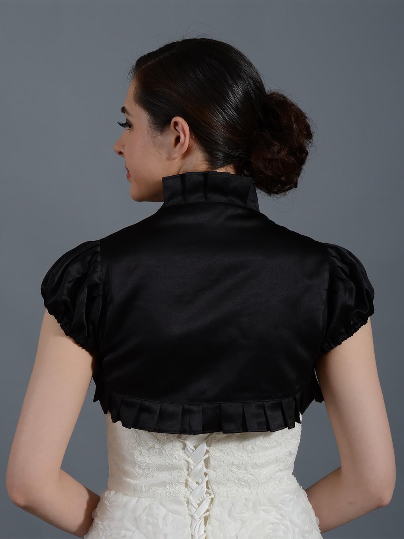 Black Short Sleeve Wedding Satin Bolero Jacket