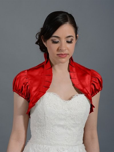 Red sleeve wedding satin bolero jacket