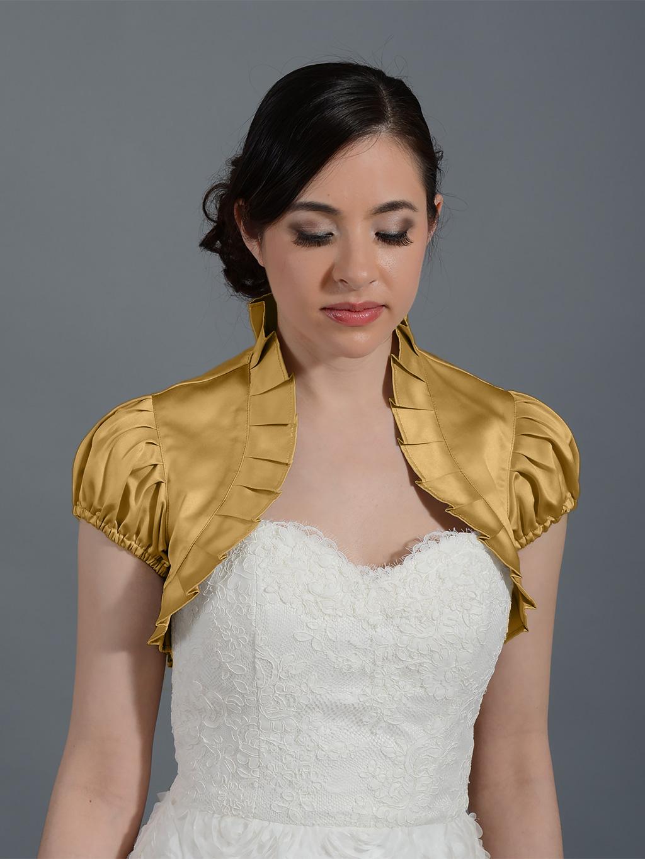 Gold short sleeve satin bolero wedding jacket Satin006n_gold