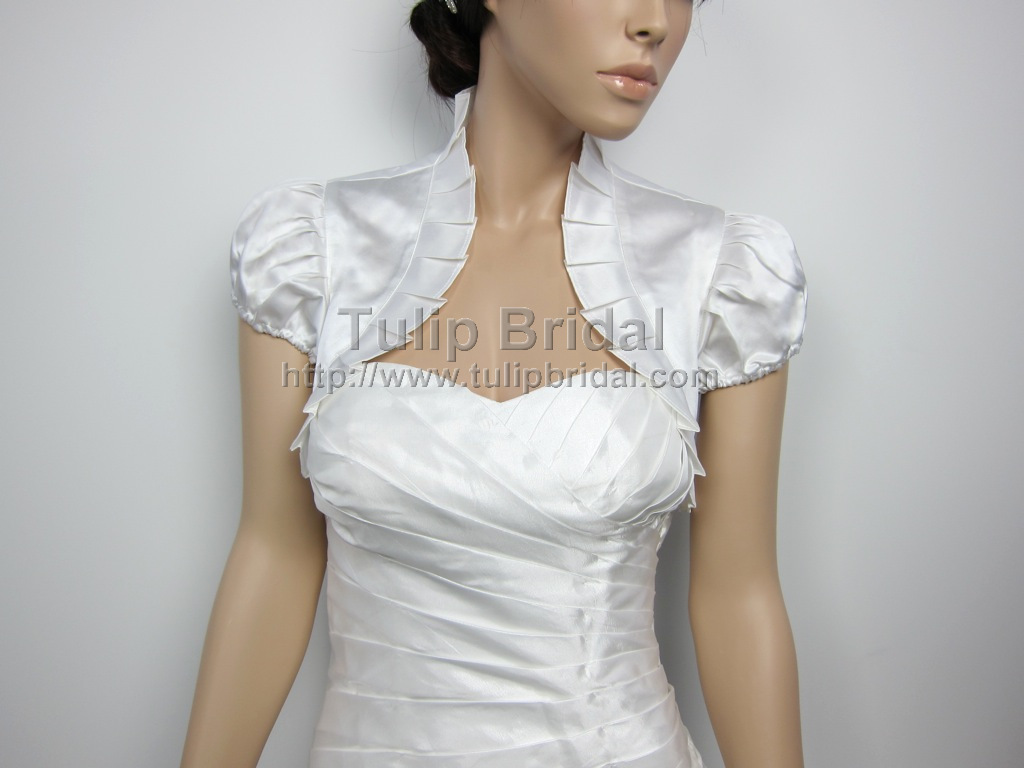 Short sleeve wedding satin bolero jacket for White bolero for wedding dress