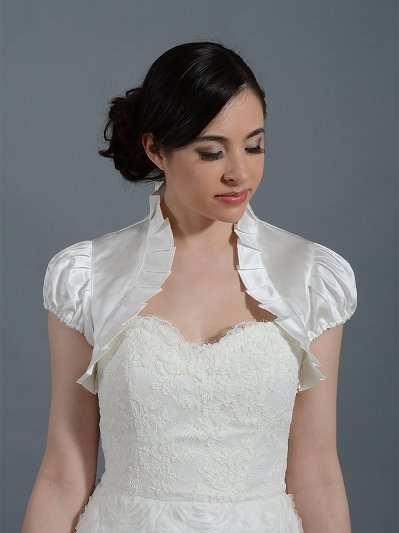 Short sleeve wedding satin bolero jacket