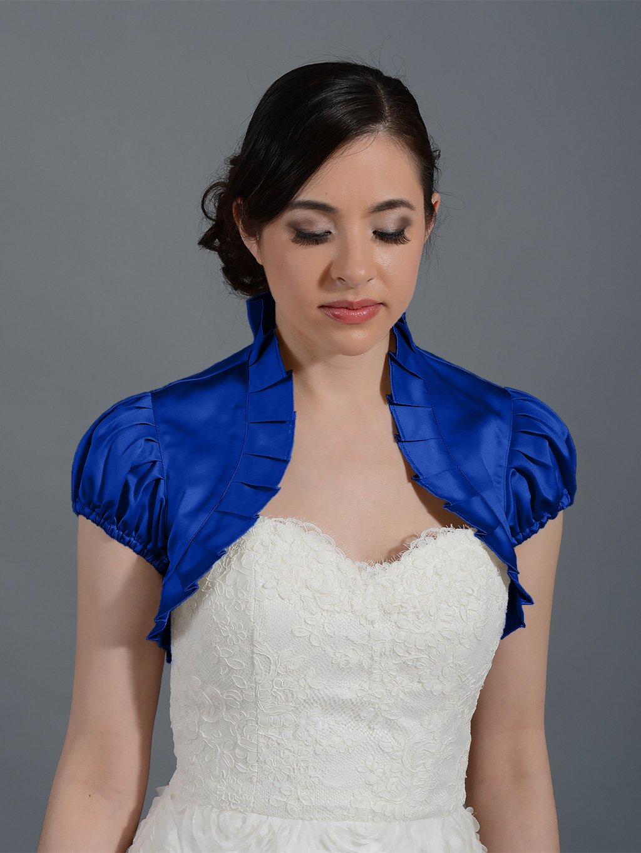Blue Short sleeve satin wedding bolero jacket Satin006n_blue